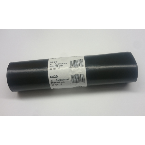 30 L Roskapussi LD musta,50 kpl/rll